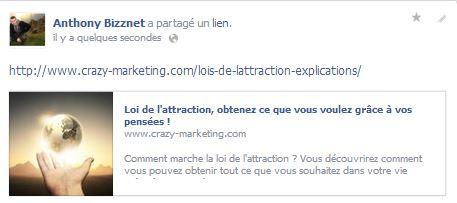 Partage publications Facebook