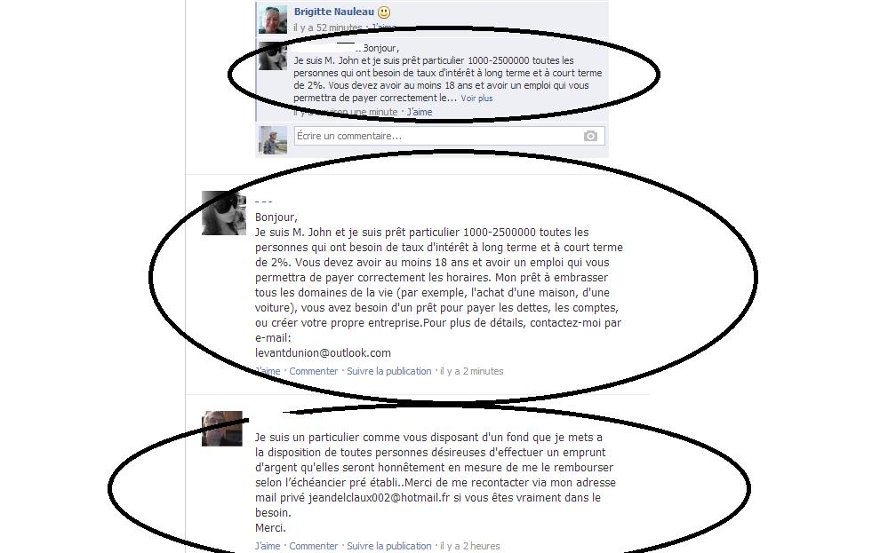 arnaque facebook pret