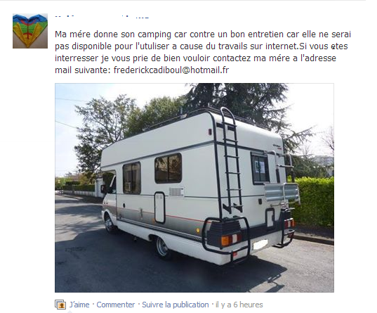 Arnaque camping car facebook
